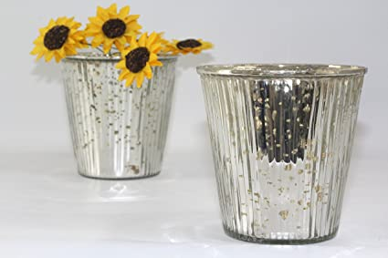 Amazon Ribbed Antique Silver Tapered Glass Vase Set Of 2