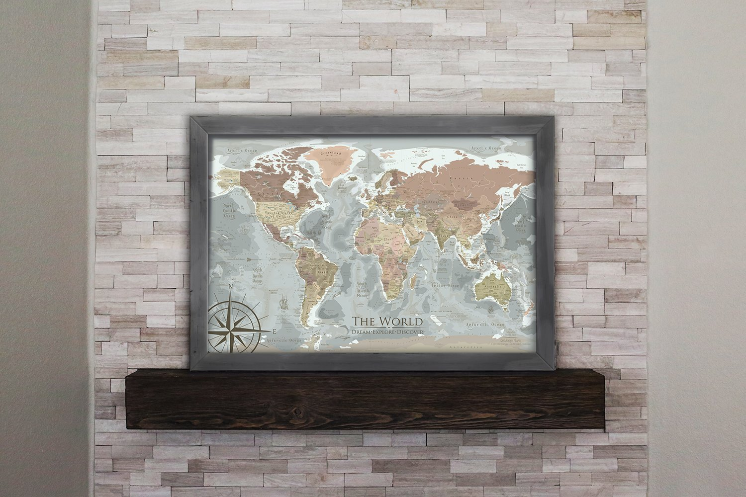 World Travel Map Pin Board - The Columbus World Map - Includes 100 map pins