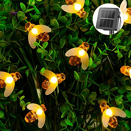 Solar Bee String Lights Outdoor 31FT 50 LED Honeybee Fairy Lights with 8 Lighting Modes, Waterproof Solar Bumble Bee Lights for Patio Yard Garden Grass Wedding Christmas Party Decor Warm White