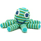 Pebble Octopus Soft Toy Rattle Hand Made and Fair Trade. Green