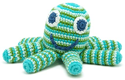 Deep Green Octopus Rattle by Pebble | Octopus toys, Kids toys, Toddler Toys  |