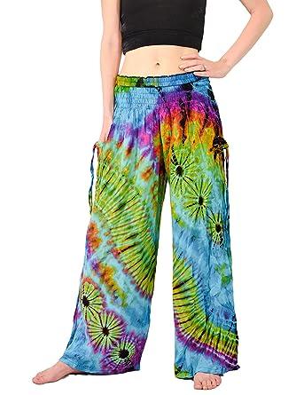 630bb1fb2e80e Orient Trail Women s Bohemian Yoga Tie-Dye Wide Leg Palazzo Pants M L  Andaman