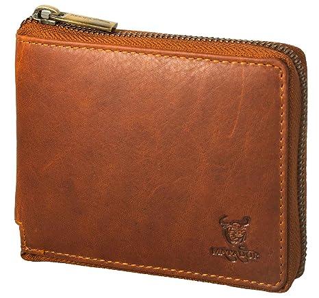 f3f71a89e501a MATADOR Geldbörse Herren Geldbeutel Reissverschluss Portemonnaie RFID  Schutz Braun Brieftasche Frauen