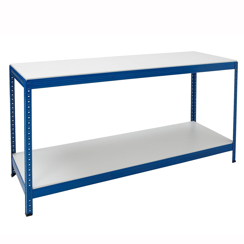 Industrial Steel Workbench Table Shelving With 2 Shelves  Melamine