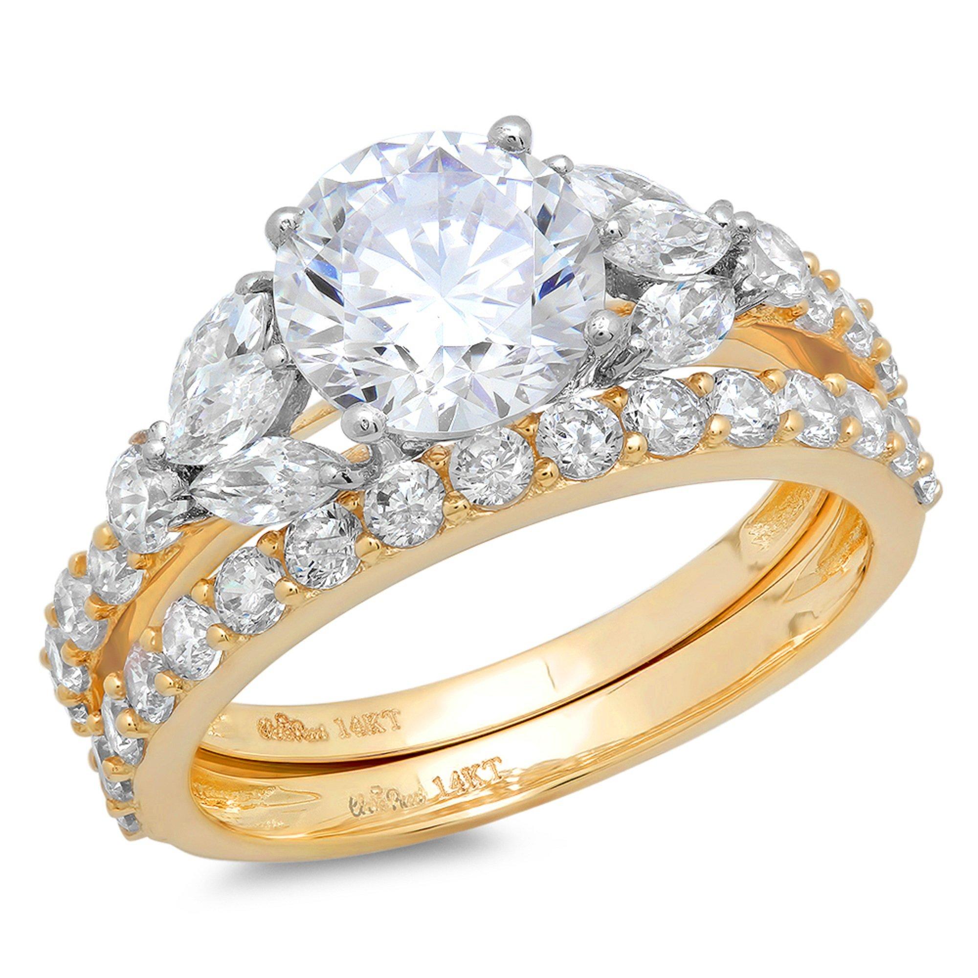2.92 Ct Round Marquise Cut Halo Engagement Wedding Bridal Anniversary Ring Set 14K Yellow Gold, Size 9, Clara Pucci