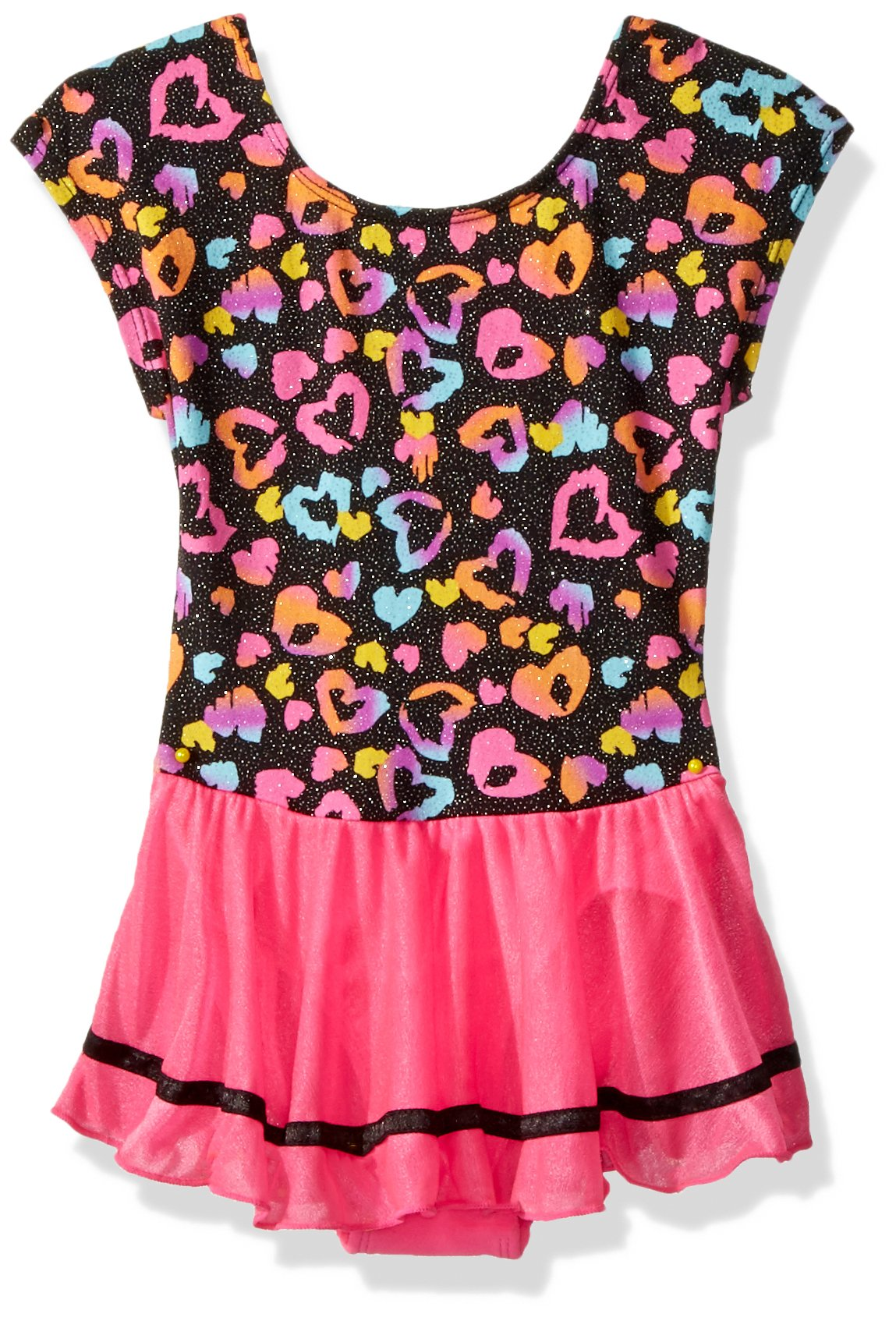 Jacques Moret Little Girls' Classic Short Sleeve Skirted Leotard, Spotted Love Printed Wiith Pink Skirt, S