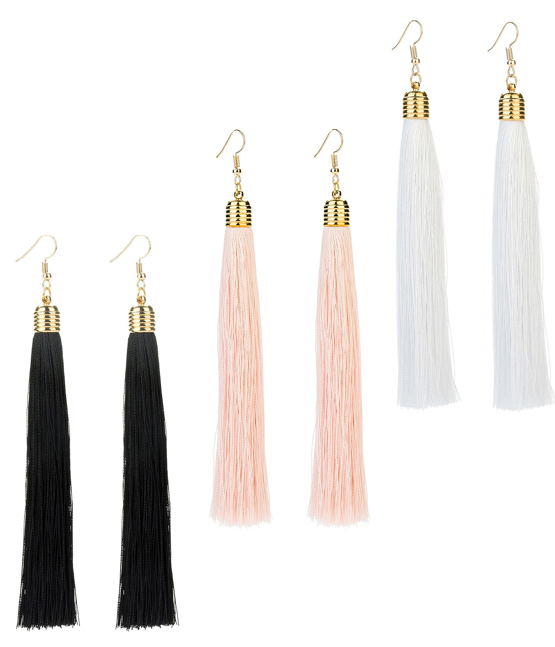 eac96ad18 REVOLIA 3 Pairs Womens Long Tassel Dangle Earrings for Girls Fringe Drop  Earrings Elegant (C
