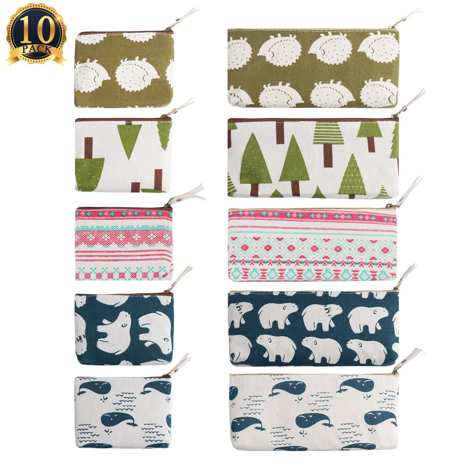 SUBANG 10 Packs Pencil Case Forest And Animal Theme Linen New Style Pencil Case Box Makeup Bag, 5 Styles by SUBANG