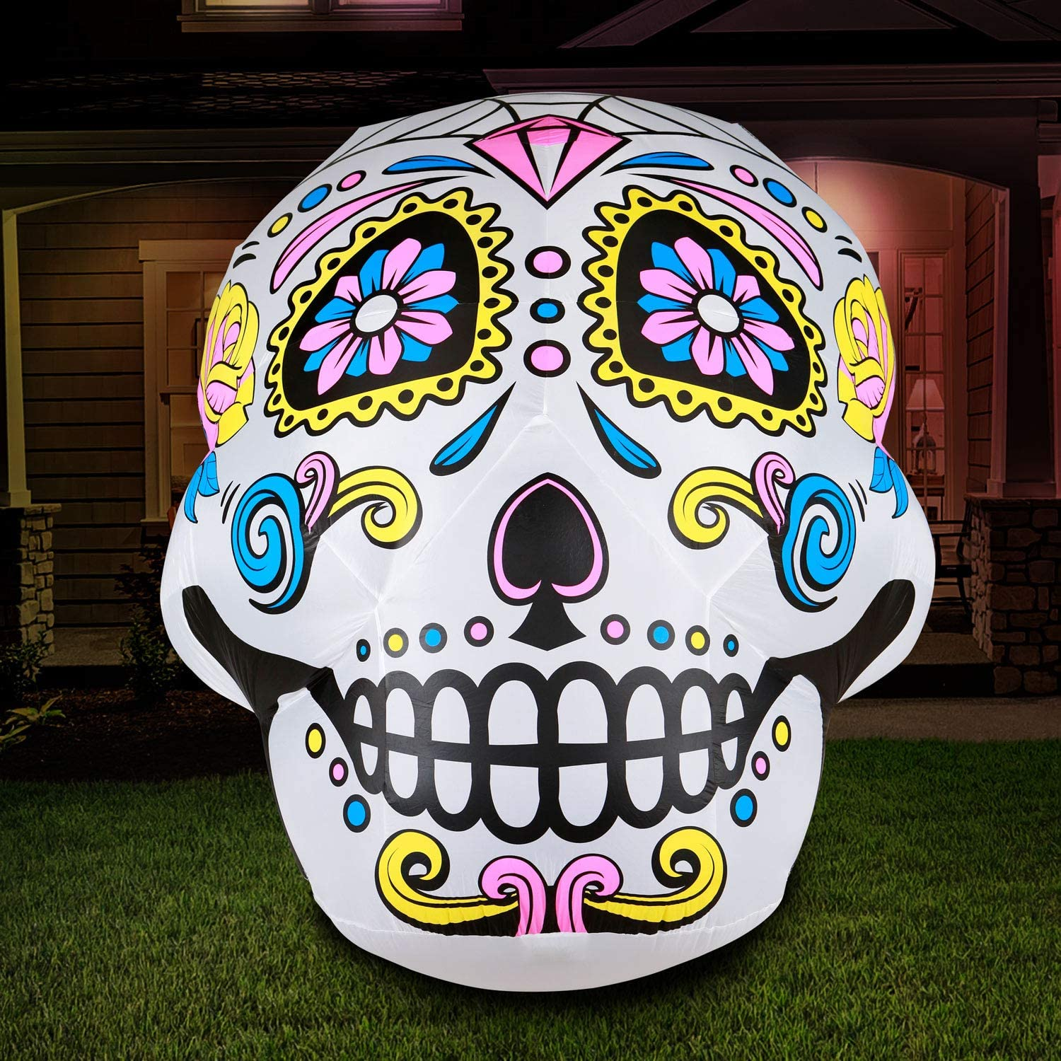 Holidayana Halloween Skull Yard Inflatable - 6 ft Tall Inflatable Sugar Skull Yard Decoration with Super Bright Internal Lights, Built-in Fan, and Anchor Ropes