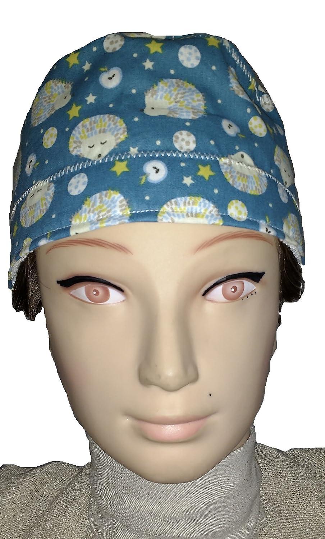 Gorro de quirófano ERIZOS para pelo corto. Tipo Hombre, cirujano, dentista, veterinaria, cocina, etc. Toalla en la frente, tensor ajustable en trasera: ...