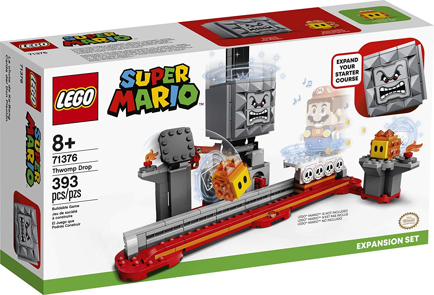 393 Pieces 71360 New 2020 LEGO Super Mario Thwomp Drop Expansion Set 71376 Building Kit; Collectible Playset for Creative Kids to Add New Levels to Their Super Mario Starter Course Set