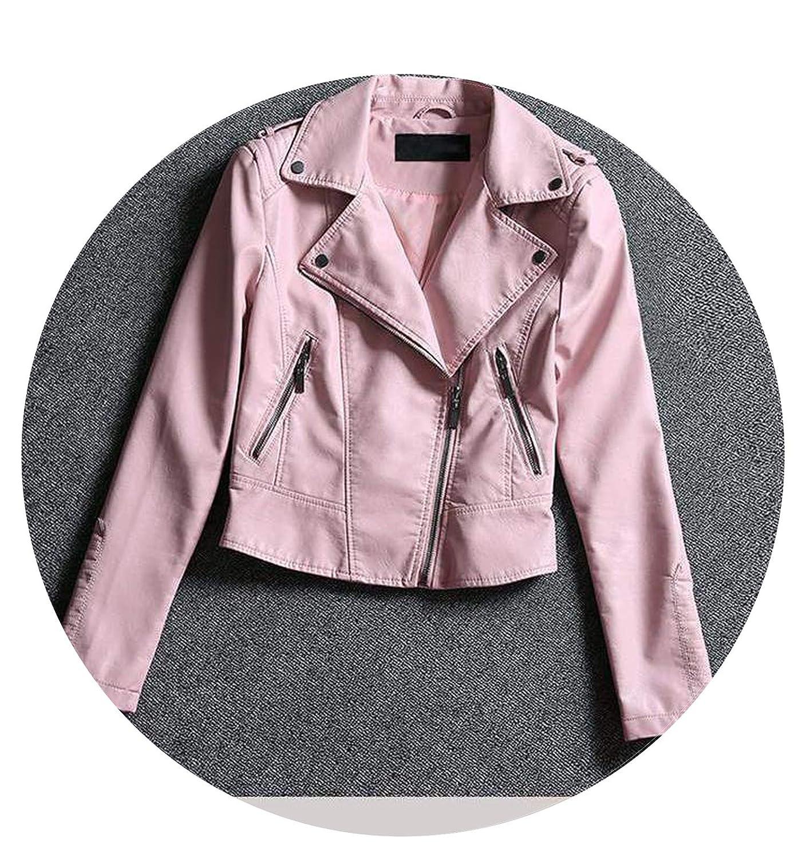 Pink Short Ladies Leather Jacket Imitation Sheepskin Leather Coat Pink Lady Short Jacket SXXL