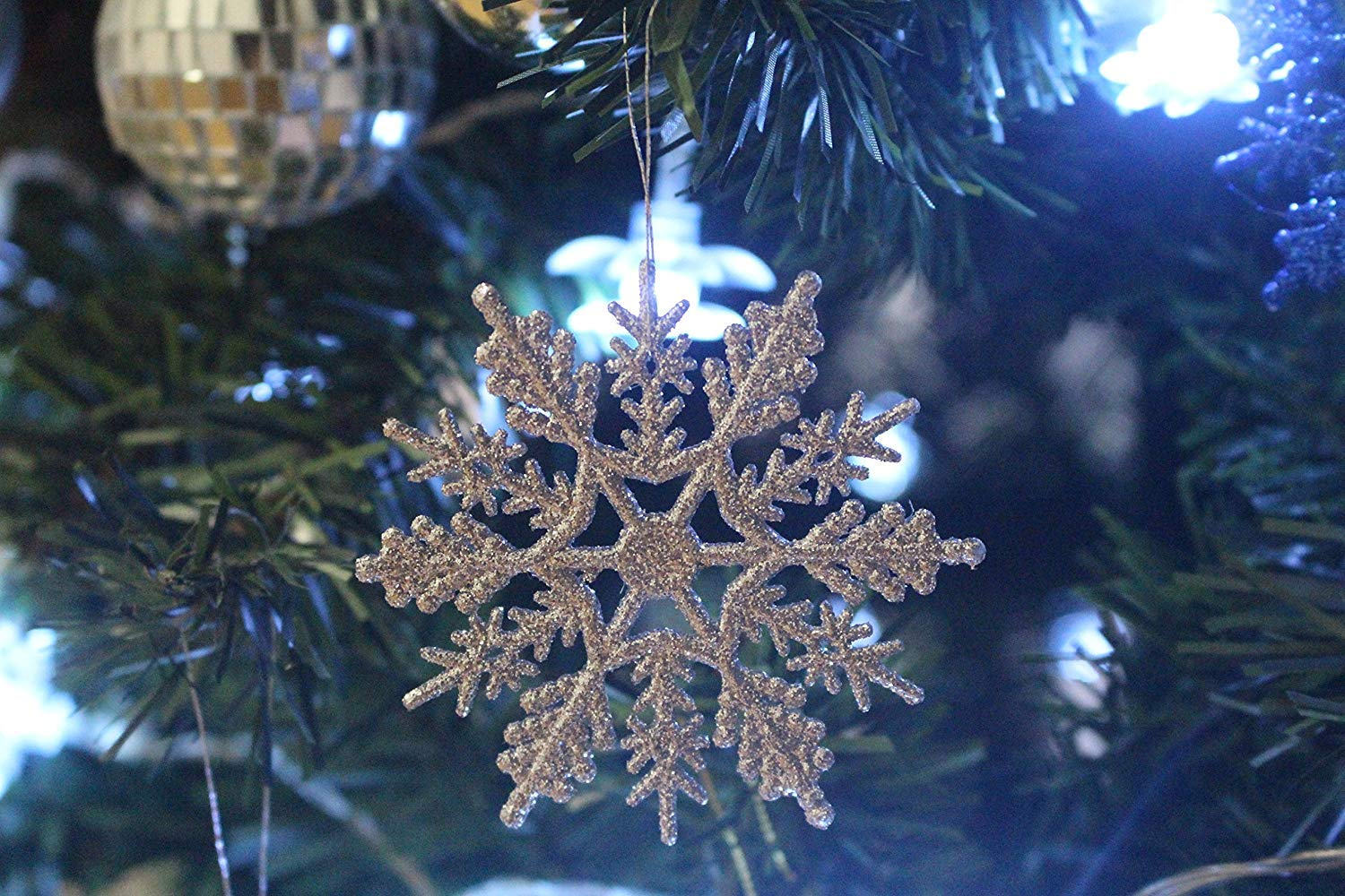 WISH HALLY WOOD 36pcs White 4inch Snow Fantasies Snowflake,Plastic Snowflake Ornament on String Hanger for Decorating Crafting White, 4inch Embellishing and Wedding