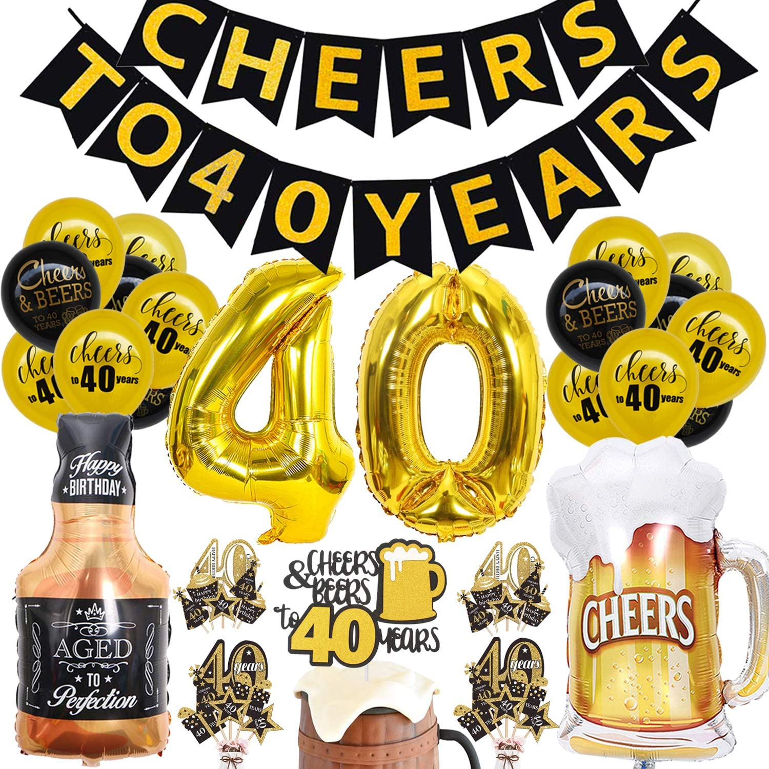40th Birthday Decorations Kit - Cheers to 40 Years Banner Balloon - 40 Years Old Party Supplies 40th Anniversary Decorations