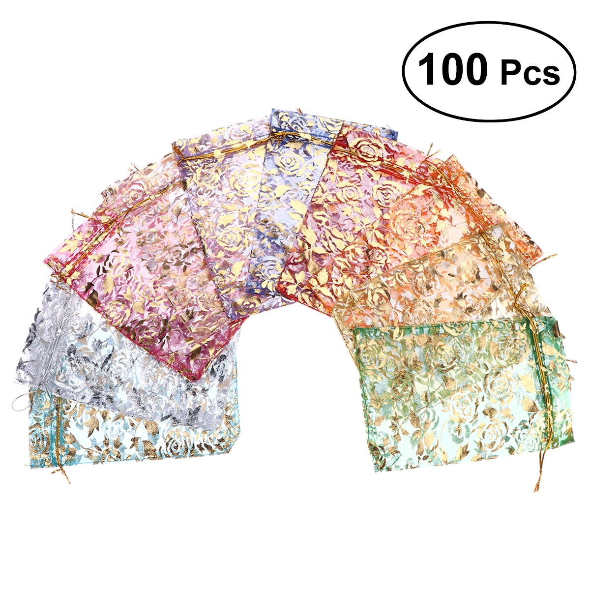 TOYMYTOY Gift Bags Dried Flower Jewelry Bronzing Roses Mesh Candy Yarn Bags 100pcs (Random)