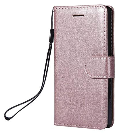 DENDICO Funda Sony Xperia Z5 Mini, Flip Libro Cuero Carcasa, Diseño Clásico Funda Plegable Cover para Sony Xperia Z5 Mini - Rosa