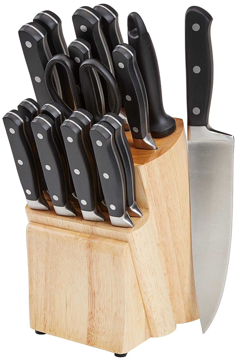 AmazonBasics Premium 18-Piece Kitchen Knife Block Set