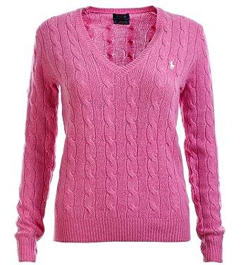 Ralph Lauren Damen Cashmere Pullover Zopfmuster PINK GRÖSSE