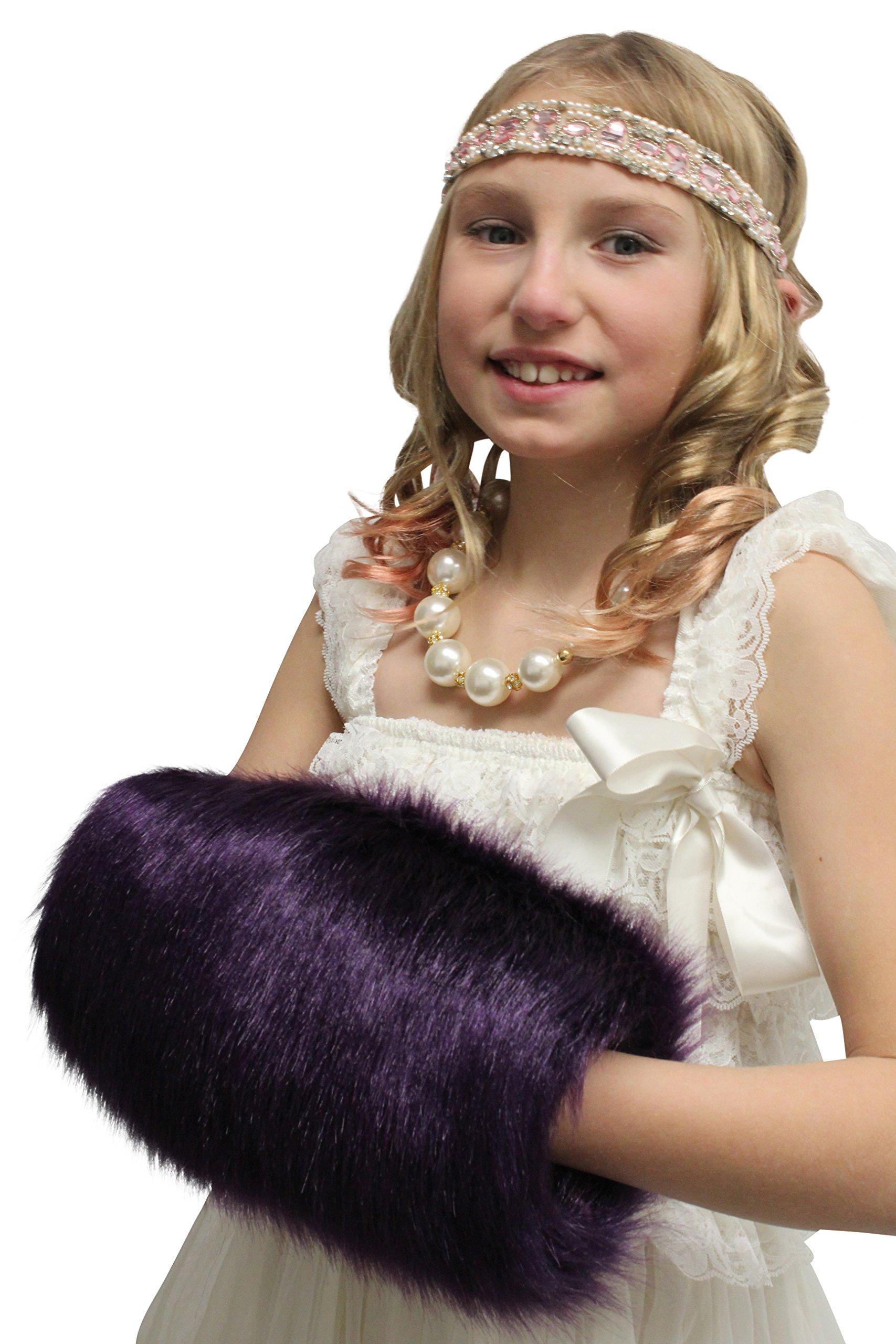 Child Faux Fur Hand Muff, Purple