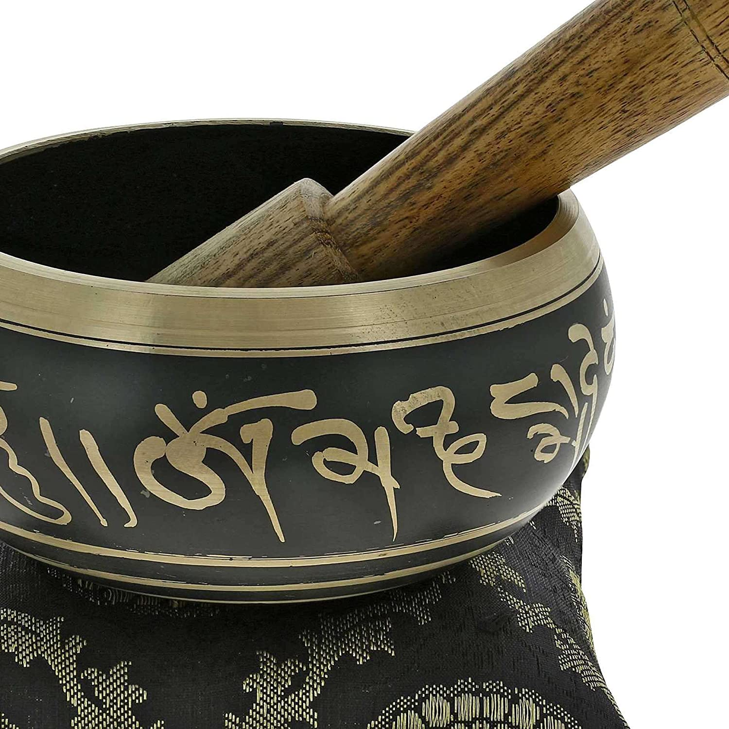 Buddhist Singing Bowl Meditation Tibetan Golden and Black Art Décor 4 Inch ShalinIndia MN-bowl_black_s