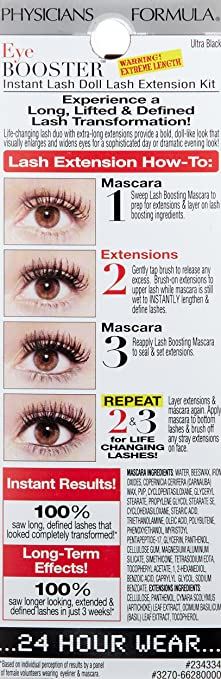 ca2cb1da8f9 Amazon.com : Physicians Formula Eye Booster Instant Doll Lash Extension  Kit, Ultra Black, 0.21 Ounce : Beauty