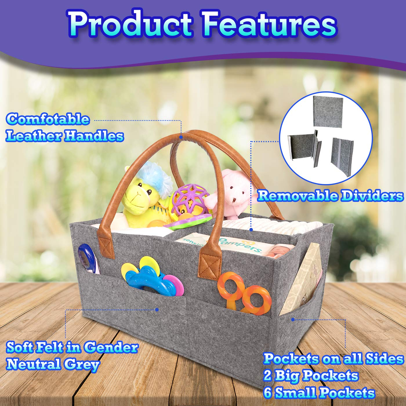 Grey Baby Diaper Caddy Organizer Baby Shower Gift Basket for Boys Girls Diaper Travel Tote Bag Nursery Storage Bin for Changing Table Large Portable Car Travel Caddy 15 x 10.5 x 7 Inch