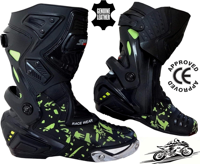 Speed MaxX Mens HiViz CAMO Motorbike Motorcycle CE Racing Leather Shoes Boots 10 UK