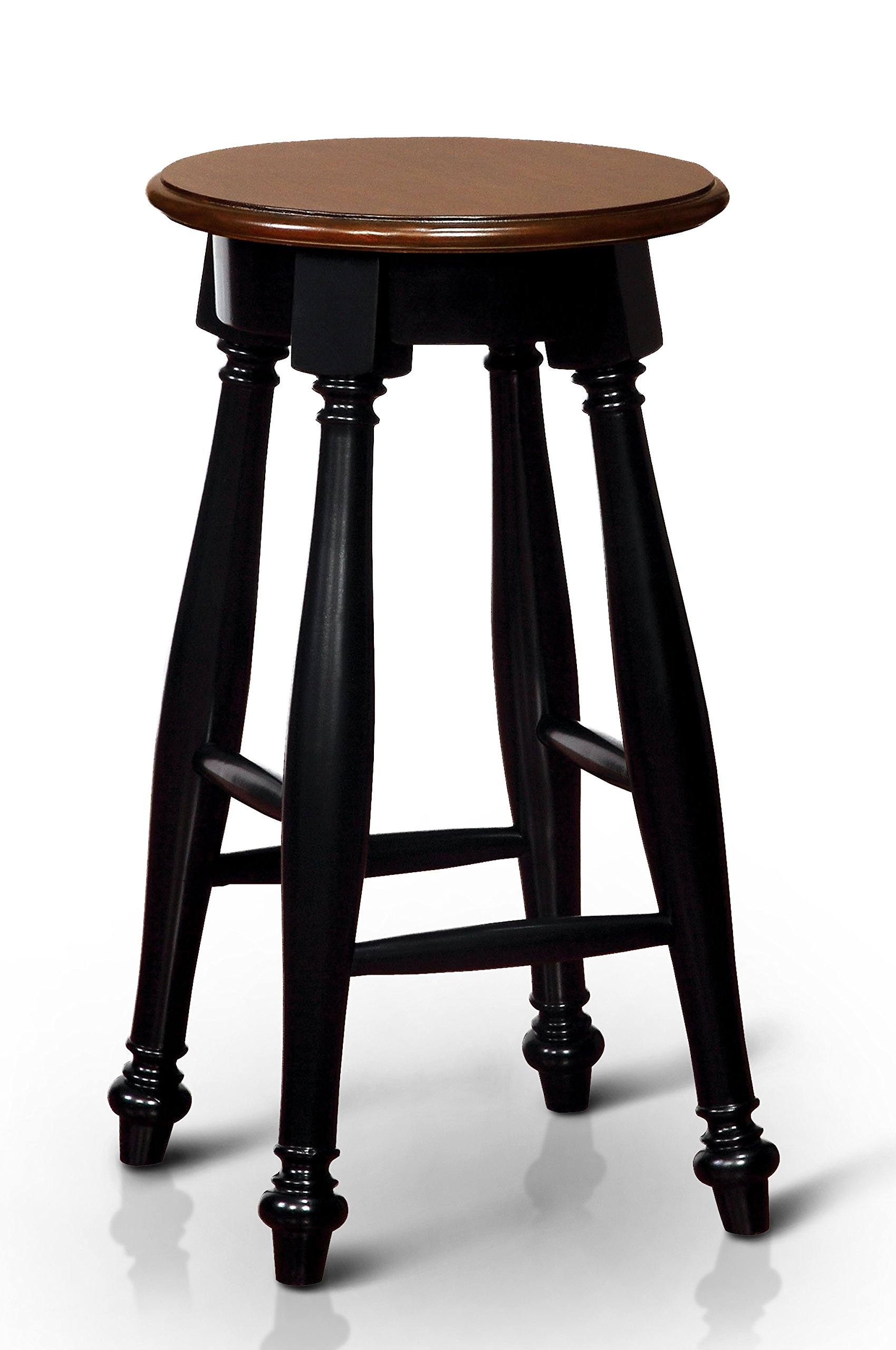 Furniture of America Zayne Round Bar Stool Country Style - Black/Cherry