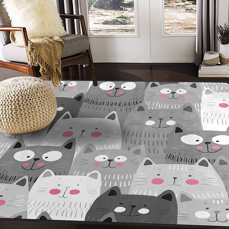 Alaza Gray Hipster Cat Kitten Area Rug For Living Room Bedroom 5 3 X4 Furniture Decor