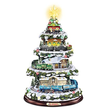 lionel christmas train light up christmas tree with sound by the bradford exchange - Christmas Train Decoration