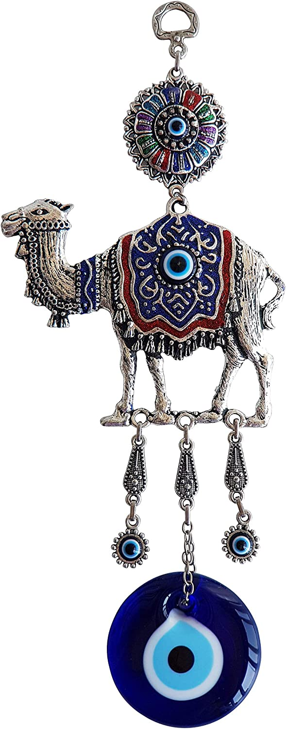 Erbulus Glass Blue Evil Eye Colourful Camel Protection Charm - Turkish Nazar Bead - Evil Eye Camel Wall Hanging Ornament Decor and Home Protection in a Box
