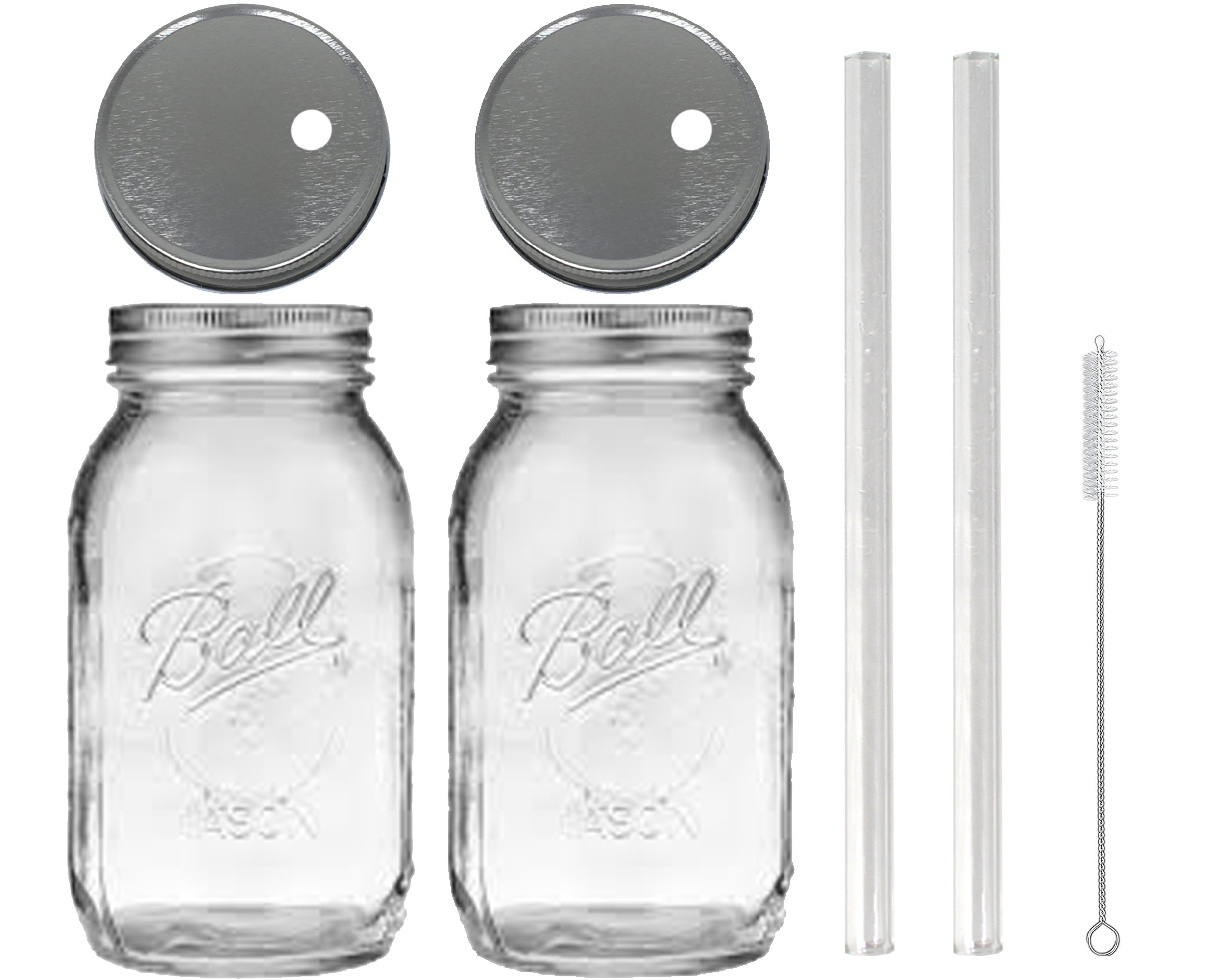 2 Glass Mason Drinking Jars with 2 Straw Hole Lids, 2 Glass Straws (10''x 9.5mm) and 1 Straw Cleaner (Silver) by Unknown