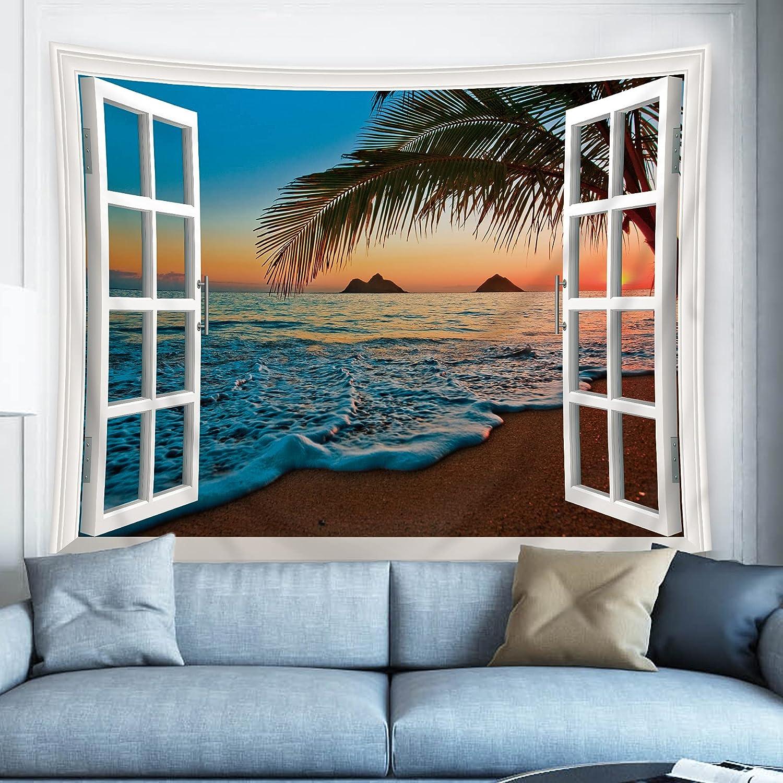 Riyidecor Beach Tapestry Wall Hanging 60Hx80W Inch Window Ocean Seaside Wall Art for Bathroom Nature Theme Wall Decor Living Room Tropical Palm Tree Dorm Sunrise Hawaiian Summer Landscape Bedroom