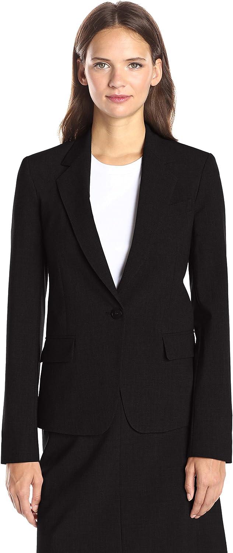 Black 6 Theory Womens Gabe Single Button Blazer