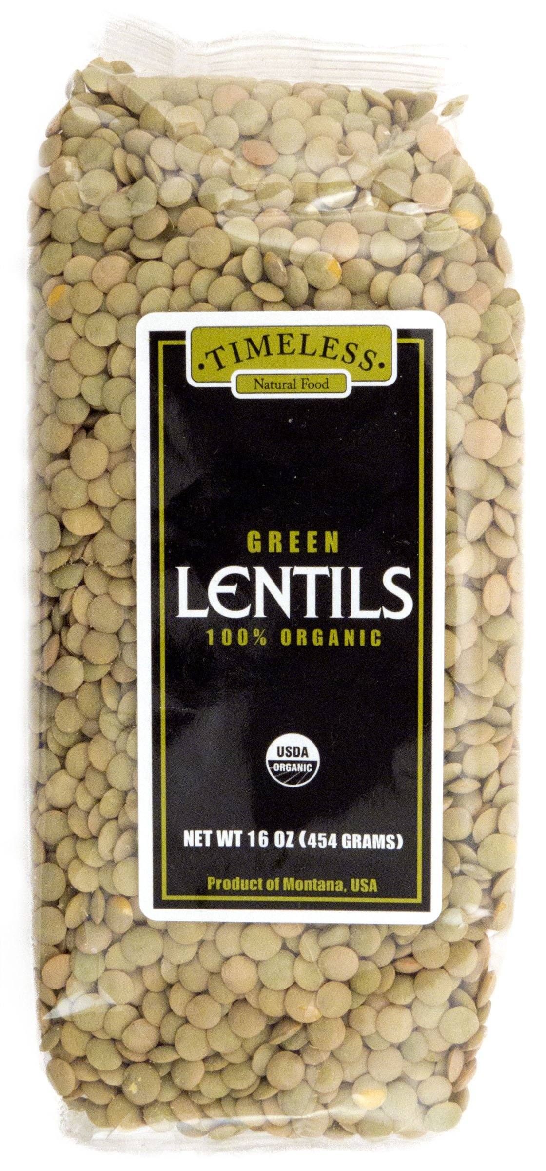 Timeless Natural Food USDA Certified Organic Green Lentils 16 oz