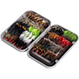 BASSDASH Fly Fishing Flies Kit Fly Assortment Trout Bass Fishing with Fly Box, 36/64/72/76/80/96pcs with Dry/Wet Flies, Nymph