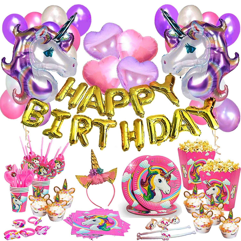Unicorn Birthday Party Supplies 197 Pcs Set