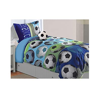 All American Collection 3 Piece Twin Size Soccer Comforter Set with Furry Friend Included, Matching Sheets and Curtain A: Home & Kitchen