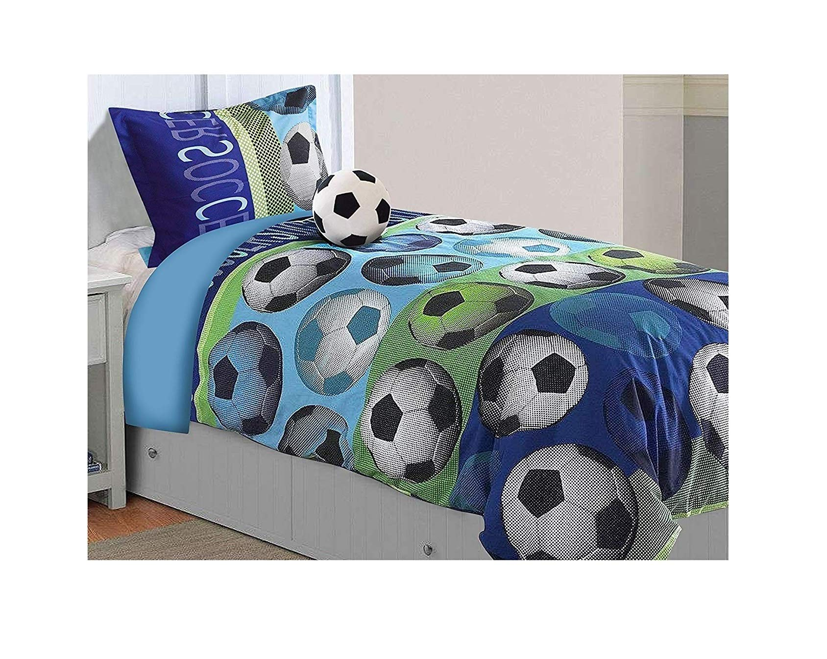 All American Collection 3 Piece Twin Size Soccer Comforter Set with Furry Friend Included, Matching Sheets and Curtain Available (3PC COMFORTER SET ONLY)