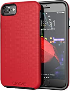 Crave iPhone SE 2020 Case, iPhone 8 Case, iPhone 7 Case, Dual Guard Protection Series Case for Apple iPhone SE/8/7 (4.7 Inch) - Red