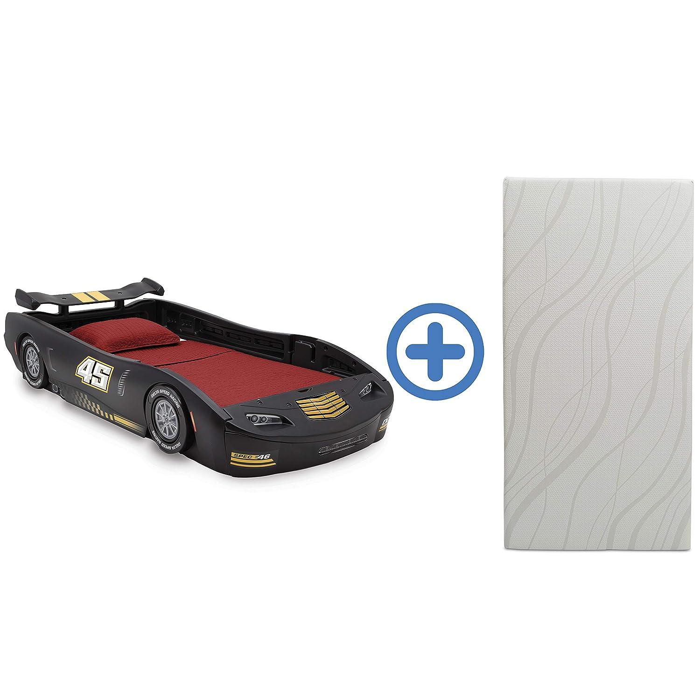 Delta Children Sport Race Car Twin Bed & 6-Inch Twin Memory Foam Mattress, Black