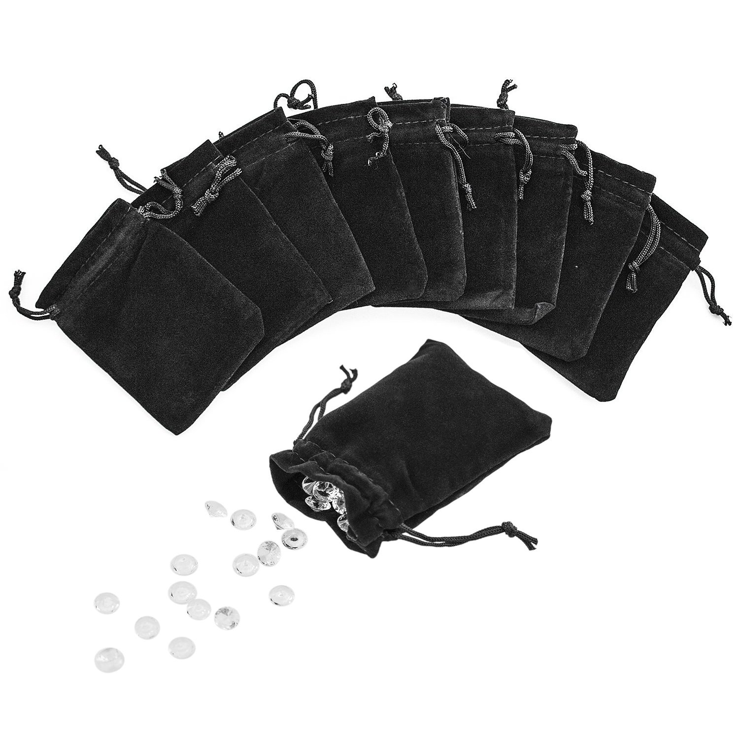 3'' x 4'' Black Velveteen Sack Pouch Bags for Jewelry, Gifts, Event Supplies (50 Pouches)