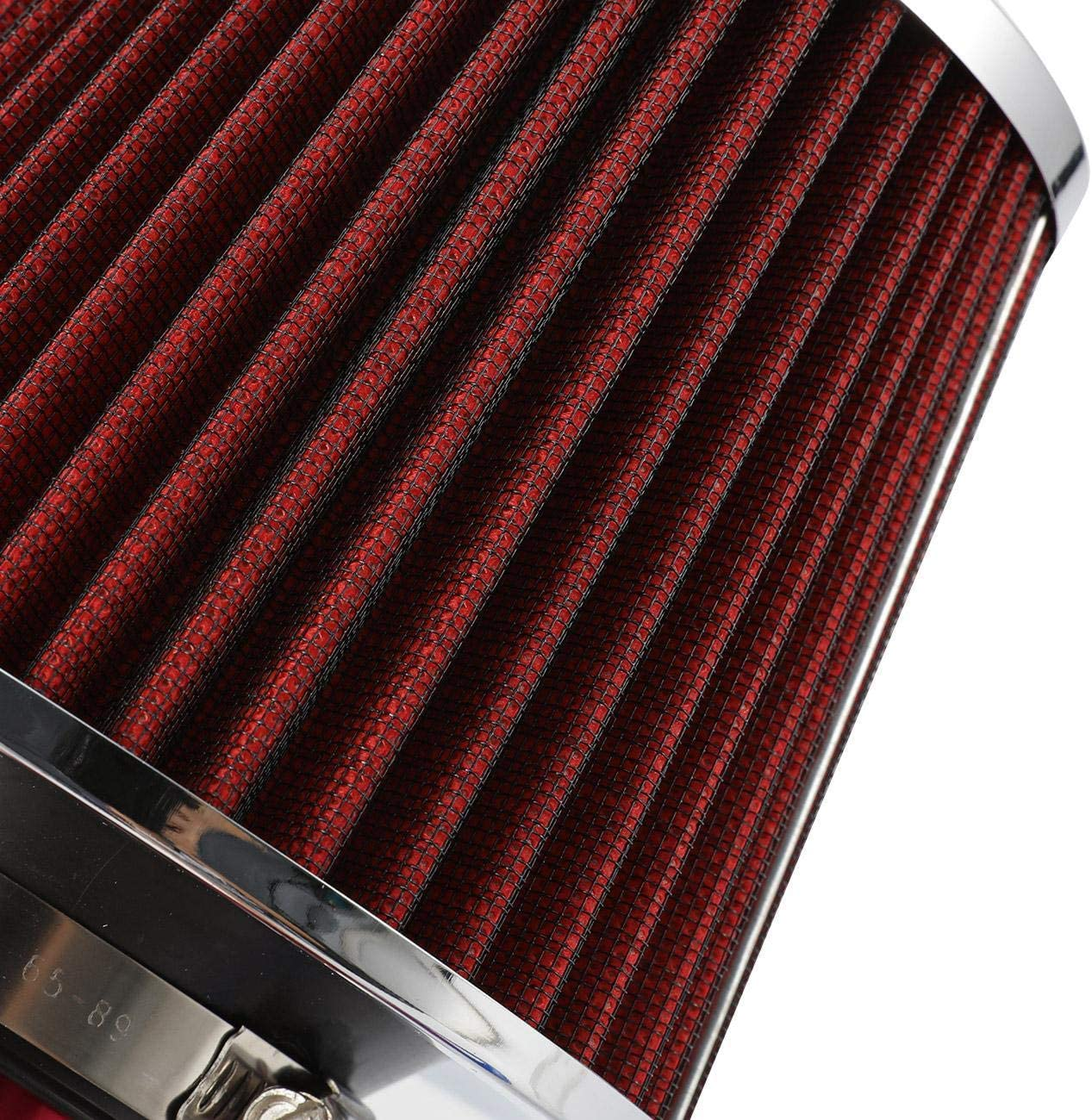 Red ALAVENTE Car Air Intake Kit Cool Air Intake Filter System 3 Inch Diameter Pipe with Low Hose and Clamp Kits