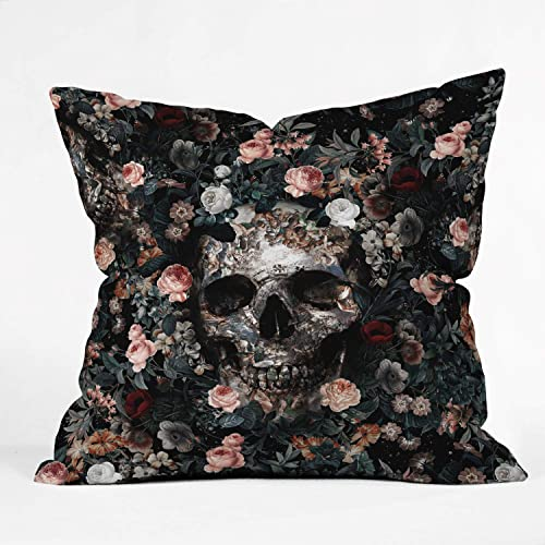 Society6 Burcu Korkmazyurek Skull and Floral Pattern Throw Pillow, 20 x20 , Multi
