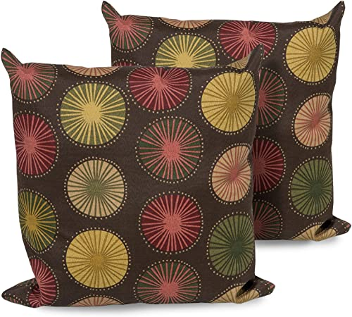 TK Classics Sunburst Outdoor Throw Pillows Square Set of 2 Sunburst
