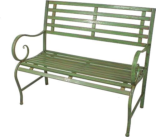 Antique Green Outdoor Safe Metal Garden Bench – 36 x 44 x 19 Inches