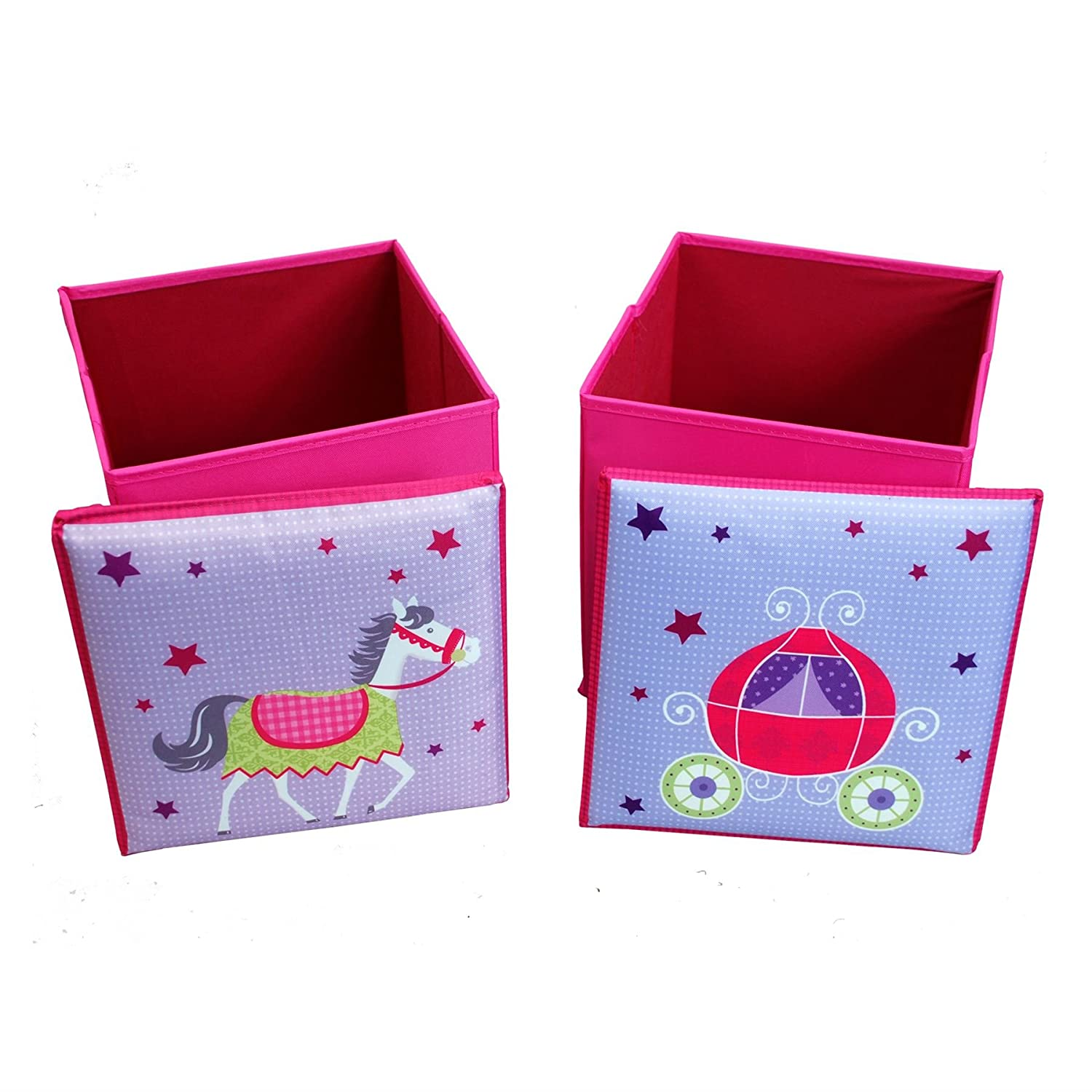 Children's Table and 2 Storage Bin Style stools Furniture Set Bright Colourful Set Flat Pack Collapsible Childs Junior Fabric Furniture (PINK) CMY