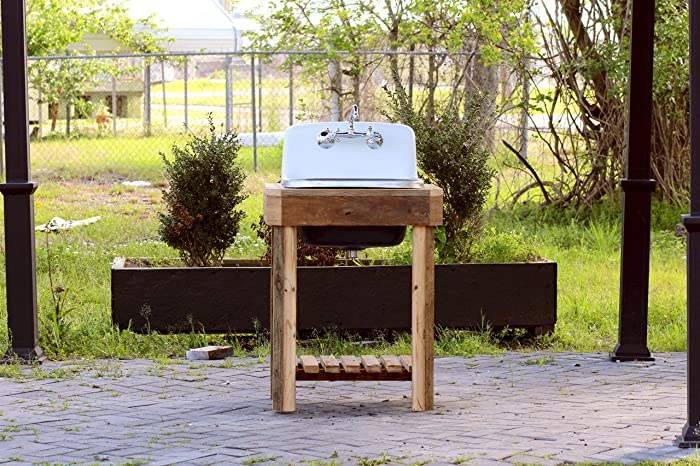 Reclaimed Wood Utility Farm Sink Stand Original Finish Cast Iron Porcelain  High Back Sink Stand Package
