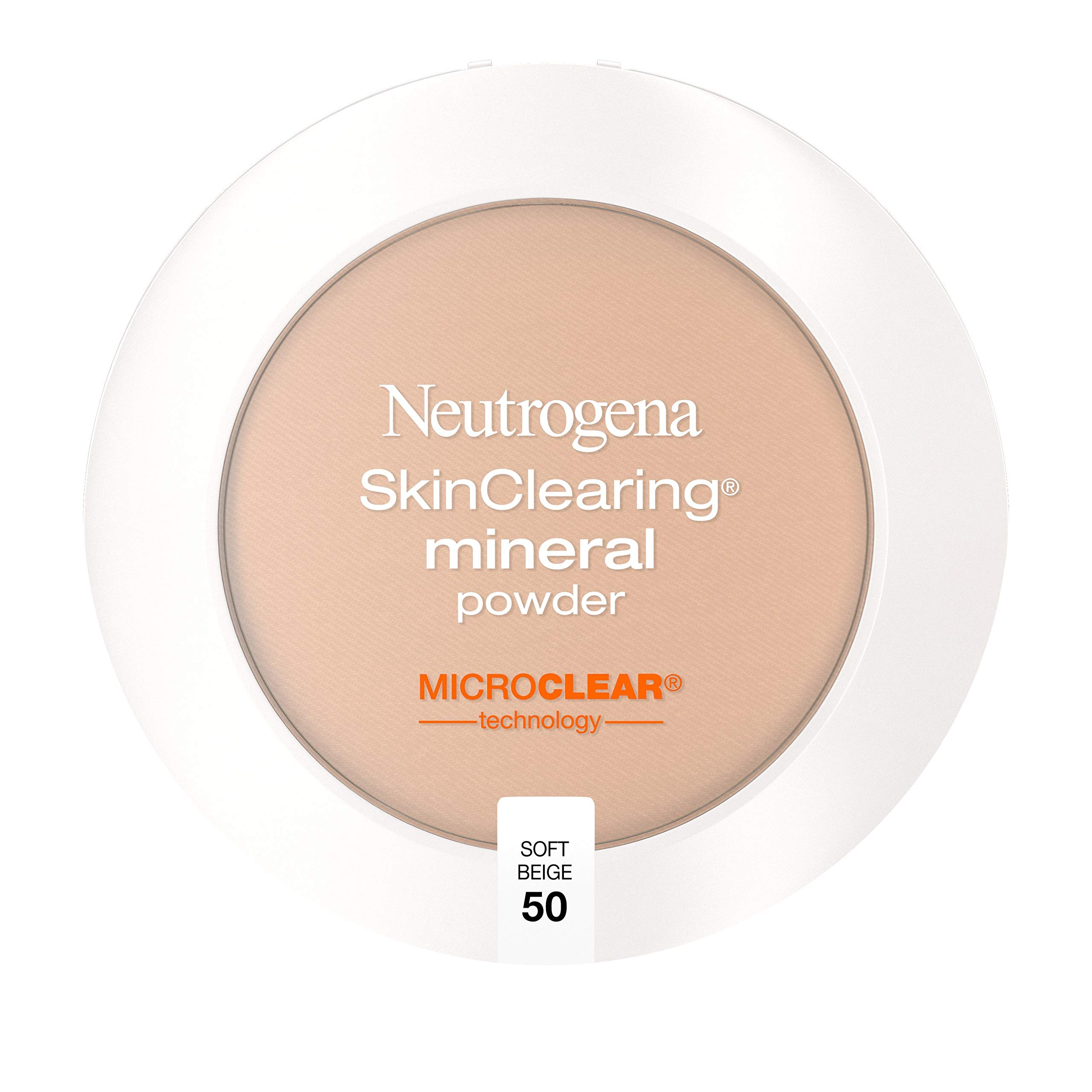 Neutrogena SkinClearing Mineral Acne-Concealing Pressed Powder Compact, Shine-Free & Oil-Absorbing Makeup with Salicylic Acid to Cover, Treat & Prevent Breakouts, Soft Beige 50,.38 oz
