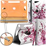 """New Design Universal Leather 360 degree Rotating Stand Case Cover For Kindle Fire HD 7-inch Tablet PC - Pink Blossom ( Designer Folio Android Colourful Luxury Protective 7"""" Tab Flip Skin ) by Gadget Giant®"""